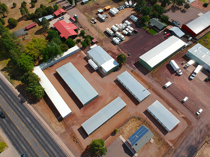 Arial view of the storage unit complex